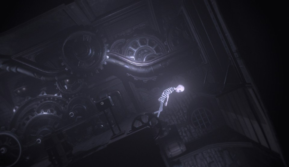 Intertwined cogs in the background and  a male character walking over a corner between a wall and the floor