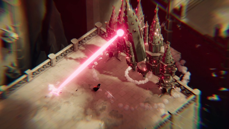 Death's Door Review a giant cathedral robot is shooting a red laser at the crow