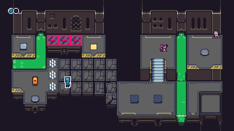 Game screenshot showing one of the robots running across crumbling platforms.
