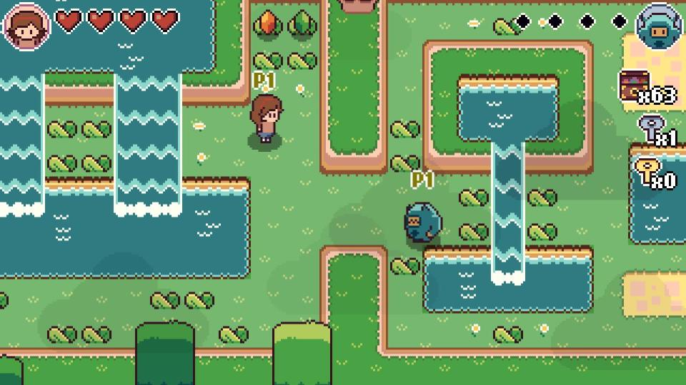 Screenshot for the game showing Mina and Michi exploring a pretty area with two waterfalls.