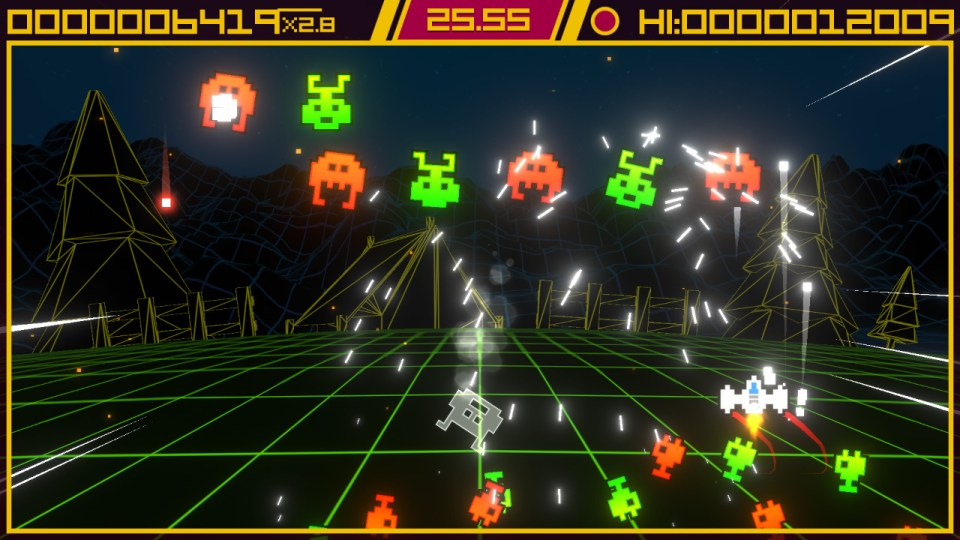 A fighter on the right of the screen firing at aliens in Super Destronaut DX-2