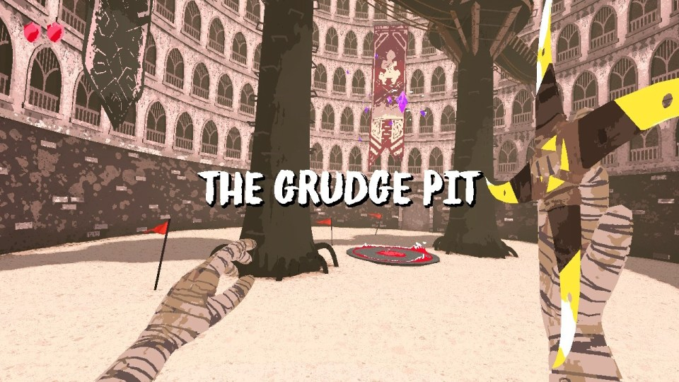 Image depicting the Grudge Pit. It is a sandy area with two trees towering above everything else.