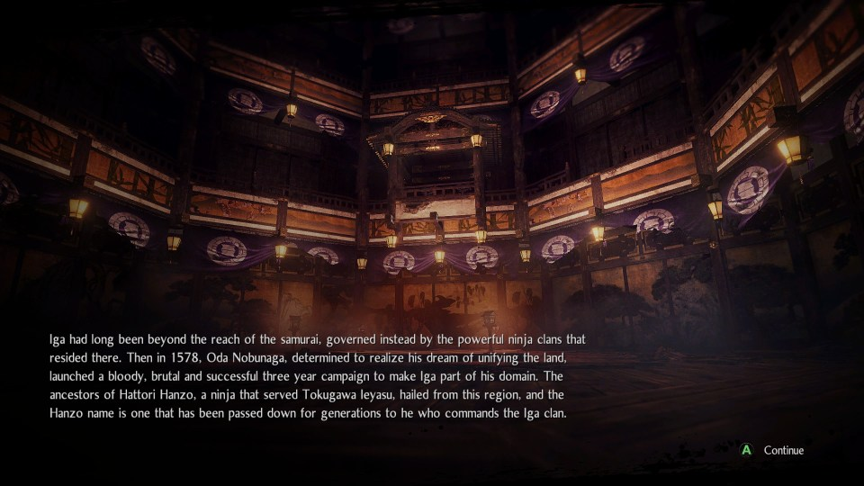 A loading screen between levels in Nioh 2 - The Complete Edition, it has Japanese historical information written on it
