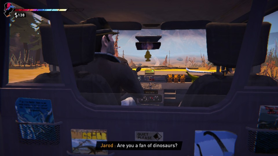 """A taxi driver asks """"are you a fan of dinosaurs"""""""