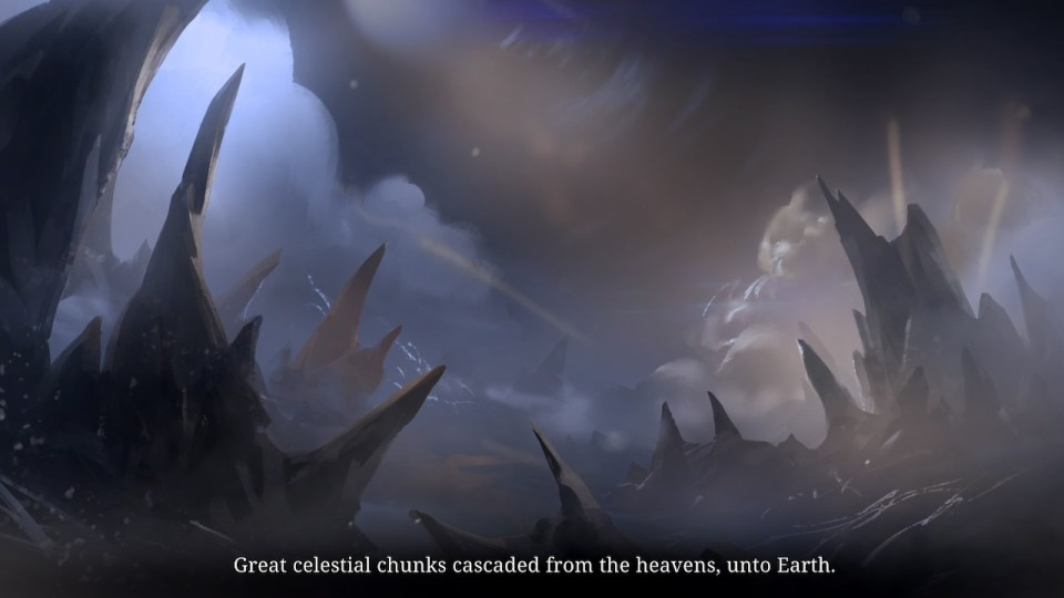 Shows the context with celestial chunks of rock descending upon the Earth