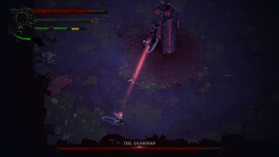 massive armored figure with a red line pointed directly at the player