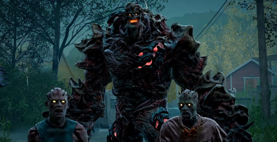 Two zombies stand in front of a larger armoured zombie, whose skin is made of boney flesh.