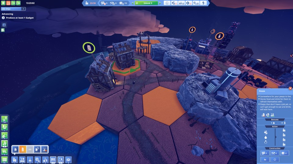 Several hexagonal tiles flash orange, indicating that the player can place a house on them. The player is placing a house on one of the tiles, which also has a green outline indicating the direction of the house.