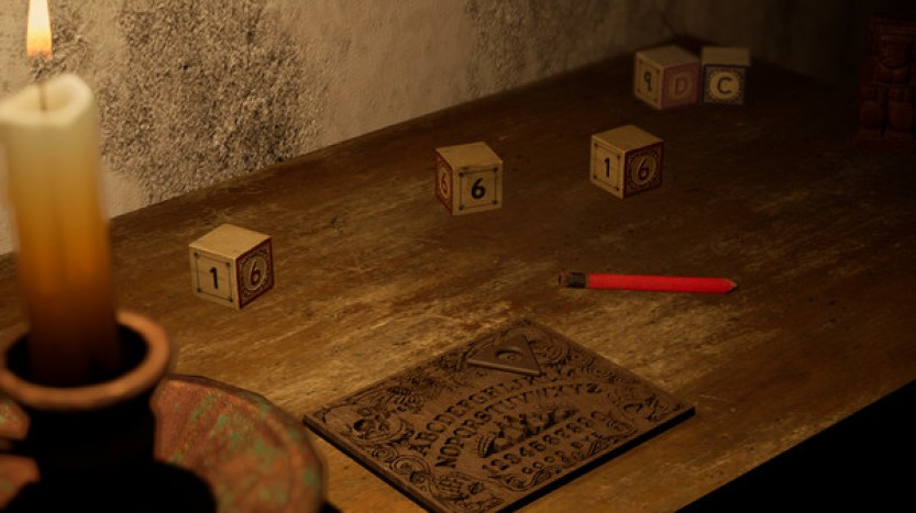 A set of dice, a pencil, a candle and an ouija board all sit on a table.  Horror Story: Hallowseed Early Access Review on PC