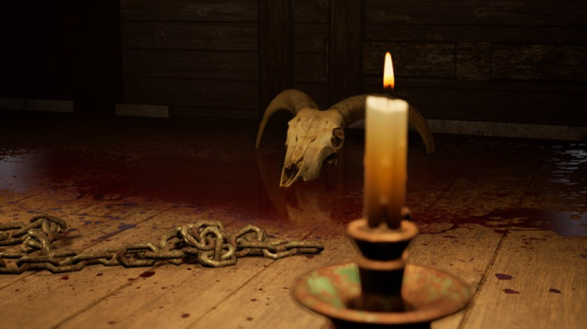 A bloodied skull, a chain and a lit candle sit creepily on a wooden floor.  Horror Story: Hallowseed Early Access Review on PC