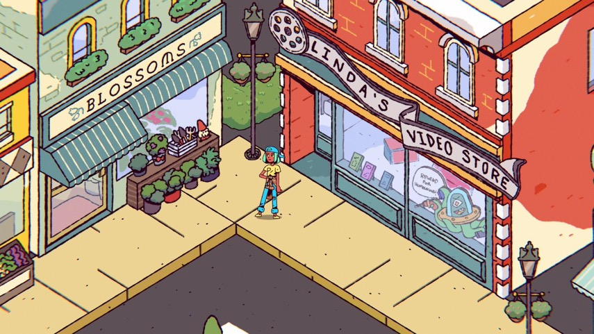 Main character Ali stands outside her mother's video store which is on the corner of a street next to a flower shop.