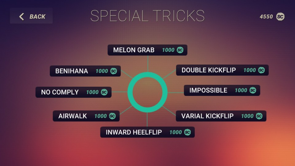 A diagram shows each of the special tricks that can be unlocked through skate credits.