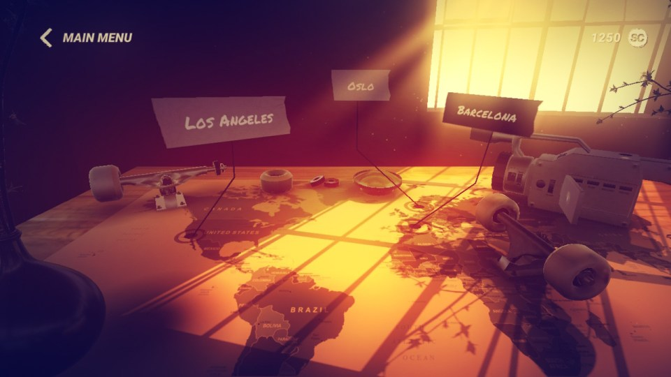 A map on a table is lit orange by light streaming through a window, marking the locations of LA, Oslo and Barcelona.