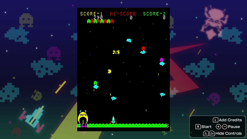 Invaders descend the screen at various heights on a black background, below is a defender