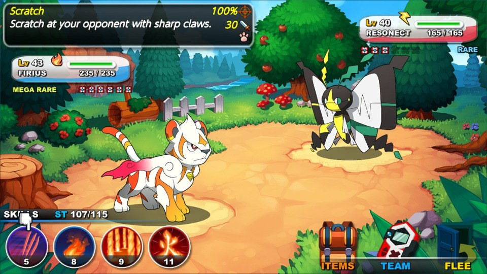 Firius attacking resonect in a standard battle. You can see the various attacks, available items, and swap members of the team.
