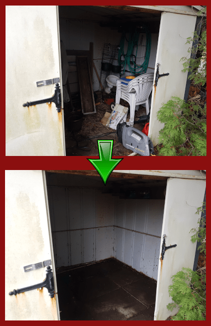 before and after shot of a shed clean out