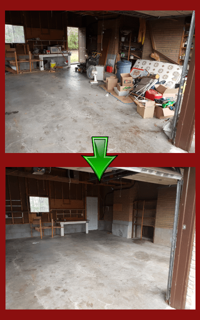 Garage clean out start and finish