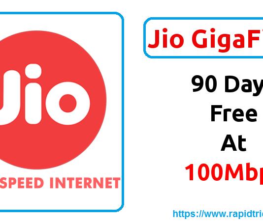 Jio GigaFiber Welcome Offer - 100 MBPS Broadband Service