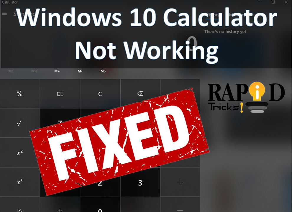 windows 10 calculator not working