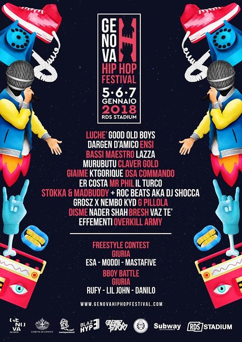 Genova Hip Hop festival: il primo festival genovese dedicato alla cultura Hip-Hop (dal 5 al 7 gennaio 2018)