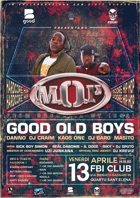 M.O.P. e Good Old Boys live a Quartu Sant'Elena (CA) – 13 aprile 2018