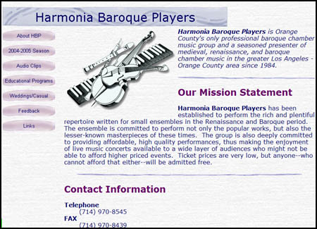 Old Harmonia Baroque web site