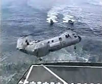 Sea Knight helicopter botches a shipboard landing