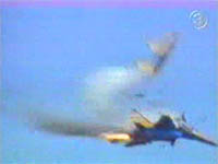 Two Russian fighters collide during an airshow