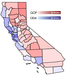 California presidental vote breakdown by county