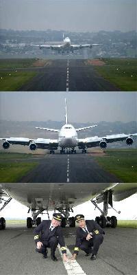 747 landing on a 50 foot wide runway