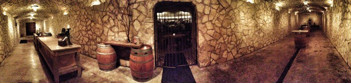 Panoramic of the barrel room. Apparently this space is quite popular for parties and wedding receptions.