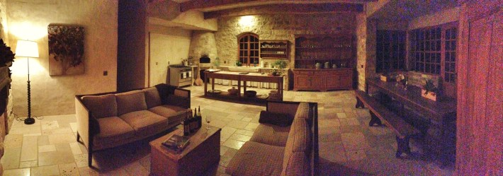 The rooms are big but don't feel overwhelming. We spent hours on these sofas, sampling wine and conversation with the owner Bion Rice. The limestone sink on the far wall is 1,000 years old.