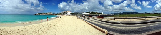 I love the iPhone 5's panoramic photo feature. This was taken from the Sunset Bar. You can see the beach, road, and runway.