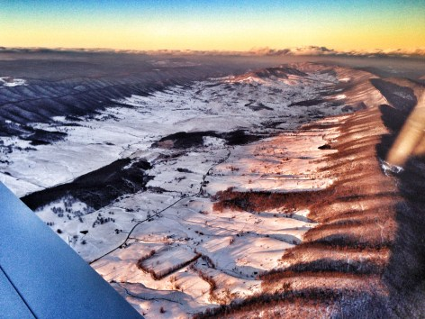 Snow covered the Appalachian range the whole way down to Knoxville.