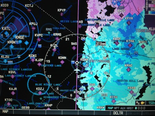 The XM weather was a big help.  You can see the snow and rain we were avoiding as we flew over Tennessee.