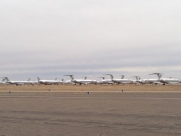 A large number of retired American MD-80s were on the field.