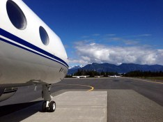 Big aircraft are instructed to park on this concrete pad due to their weight.