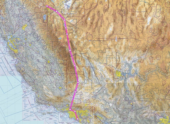 Note how the routing from RTS to SNA passes east of the Sierra Nevada range