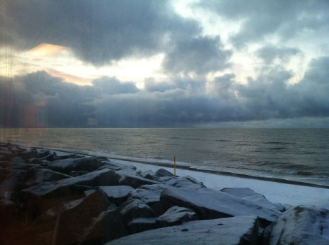 Looking out at the Bering Sea as a storm heads toward the town.