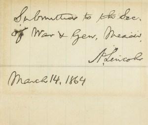 Abraham Lincoln Autograph Civil War Era Endorsement.