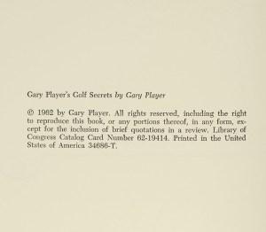 Gary Player's Golf Secrets.
