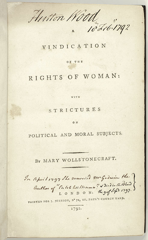 A Vindication of the Rights of Woman: With Strictures on Political and Moral Subjects.