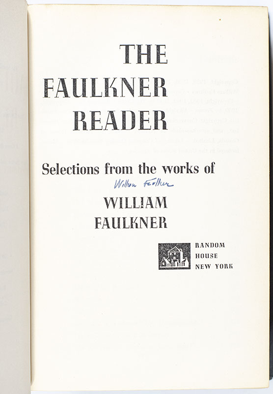 William Faulkner Collection [25 Uniformly Bound Volumes Signed to His Only Daughter, Jill: Including Soldiers' Pay; Mosquitos; Sartoris; The Sound and the Fury; Sanctuary; Light In August; A Green Bough; Absalom, Absalom!; Pylon; The Unvanquished; The Wild Palms; The Hamlet; Go Down, Moses; As I Lay Dying; Intruder in the Dust; Knight's Gambit; Light In August; A Fable; The Faulkner Reader; Big Woods; The Town; Sanctuary; The Mansion; Selected Short Stories; The Reivers].