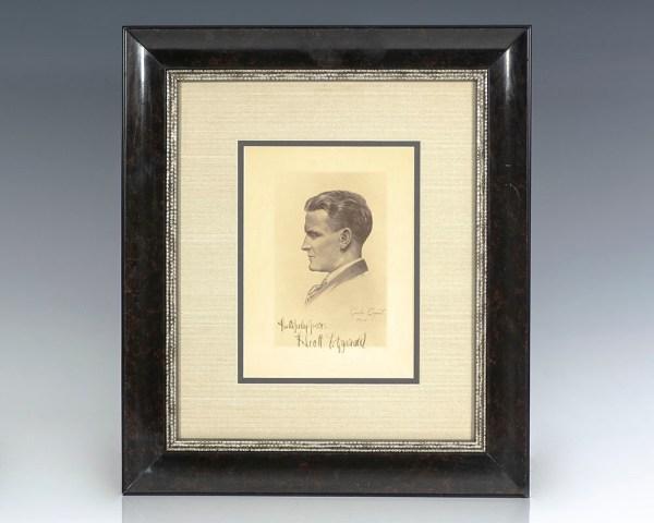 F. Scott Fitzgerald Signed Engraved Portrait.