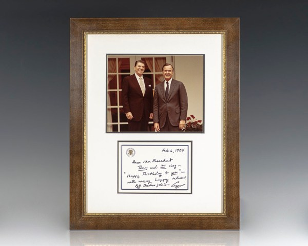 George H. W. Bush Autograph Birthday Note Signed to Ronald Reagan.