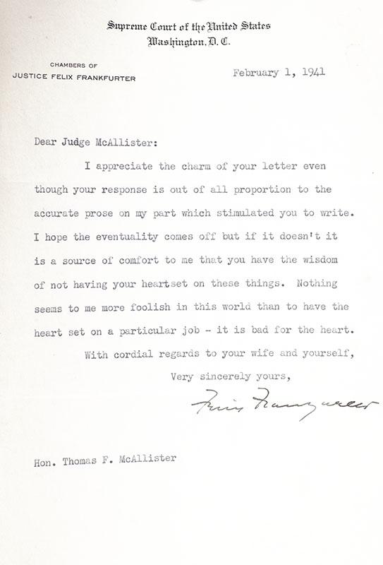 Felix Frankfurter Typed Letter Signed.