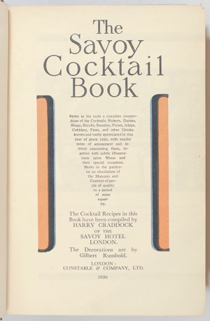 The Savoy Cocktail Book with a Harry Craddock Autograph Postcard.
