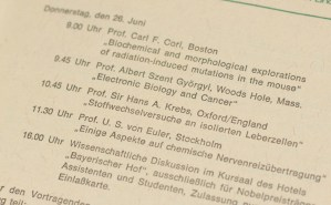 1975 Lindau Nobel Laureate Meeting Program.