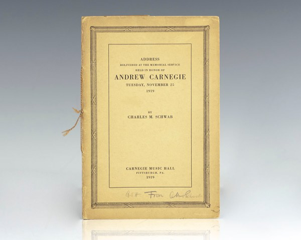 Address Delivered at the Memorial Service Held in Honor of Andrew Carnegie Tuesday, November 25 1919.
