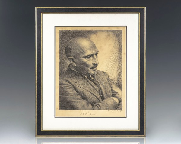 Chaim Weizmann Signed Etching.